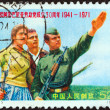 "CHINA - CIRCA 1971: A stamp printed in China from the ""30th anniversary of Founding of the Albanian Labor Party"" issue shows ""the country not allowing to be invaded"", circa 1971. — Stock Photo"