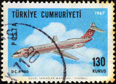 "TURKEY - CIRCA 1967: A stamp printed in Turkey from the ""Aircraft"" issue shows a Douglas DC-9-30 airliner, circa 1967. — Stock Photo"