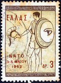 GREECE - CIRCA 1962: A stamp printed in Greece issued for the N.A.T.O. Ministers' Conference, Athens shows Ancient Greek warrior with shield, circa 1962. — Stock Photo
