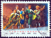 """CHINA - CIRCA 1970: A stamp printed in China from the """"Taking Tiger Mountain by Strategy (Beijing opera)"""" issue shows Arrived at the mountain, circa 1970. — Stock Photo"""