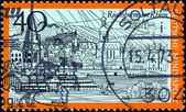 "GERMANY - CIRCA 1973: A stamp printed in Germany from the ""Tourism"" issue shows Rudesheim am Rhein, circa 1973. — Stock Photo"