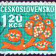 CZECHOSLOVAKIA - CIRCA 1971: A stamp printed in Czechoslovakia shows a stylized plant, circa 1971. - Stock Photo
