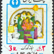 "IRAN - CIRCA 1977: A stamp printed in Iran from the ""Children's Week"" issue shows little princess with attendants, circa 1977. — Stock Photo"