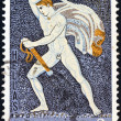 """GREECE - CIRCA 1970: A stamp printed in Greece from the """"Greek Mosaics"""" issue shows a Hunter (of a lion hunt mosaic) from Pella, Macedonia (4th century B.C.), circa 1970. — Stock Photo"""