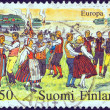 "Stock Photo: FINLAND - CIRC1981: stamp printed in Finland from ""Europa"" issue shows midsummer eve celebrations, circ1981."