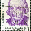 SPAIN - CIRCA 1981: A stamp printed in Spain issued for the 300th anniversary of his death shows dramatist Pedro Calderon de la Barca, circa 1981. - Stock Photo
