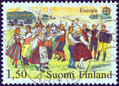 "FINLAND - CIRCA 1981: A stamp printed in Finland from the ""Europa"" issue shows midsummer eve celebrations, circa 1981. — Stock Photo"