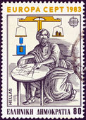 """GREECE - CIRCA 1983: A stamp printed in Greece from the """"Europa"""" issue shows ancient Greek mathematician and physicist Archimedes of Syracuse, circa 1983. — Stock Photo"""