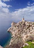 Cape Melagavi lighthouse, Corinthia, Greece — Stock Photo