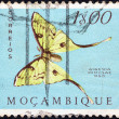"MOZAMBIQUE - CIRCA 1953: A stamp printed in Mozambique from the ""Butterflies and Moths"" issue shows an African moon moth (Argema mimosae), circa 1953. — Stock Photo"