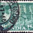 INDIA - CIRCA 1955: A stamp printed in India from the Five Year Plan issue shows a telephone engineer, circa 1955.  — Stock Photo