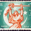 "EGYPT - CIRCA 1952: A stamp printed in Egypt from the ""Revolution of 23rd July 1952"" issue shows Allegory of Egyptian freedom, circa 1952. — Stock Photo"