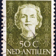 NETHERLANDS ANTILLES - CIRCA 1950: A stamp printed in the Netherlands shows Queen Juliana, circa 1950. — Stock Photo
