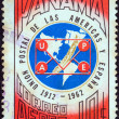 Stock Photo: PANAM- CIRC1962: stamp printed in Panamissued for 50th anniversary of founding of Postal Union of Americas and Spain, UPAE, shows map of Americand Spain, circ1962.