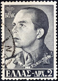 GREECE - CIRCA 1956: A stamp printed in Greece shows king Paul of Greece, circa 1956. — Stockfoto