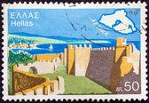 """希腊-1976 年前后: 从""""旅游宣传""""问题在希腊打印戳记表明,莱斯岛,1976 年前后. — 图库照片"""
