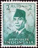 Indonésie - cca 1951: razítka v Indonésii ukazuje prezident sukarno, cca 1951. — Stock fotografie