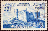 TUNISIA - CIRCA 1954: A stamp printed in Tunisia shows Genoese Fort, Tabarka, circa 1954. — Stock Photo