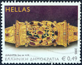 "GREECE - CIRCA 2005: A stamp printed in Greece from the ""Ancient Greek Jewellery"" issue shows Crown, 2nd century B.C., circa 2005. — Stock Photo"