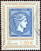 "GREECE - CIRCA 2011: A stamp printed in Greece from the ""150 Years since the issue of the First Greek Stamp"" issue shows depiction of 20 lepta stamp (Head of god Hermes), circa 2011. — Stock Photo"