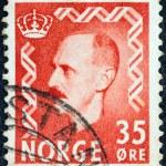 NORWAY - CIRCA 1950: A stamp printed in Norway shows King Haakon VII, circa 1950. — Stock Photo