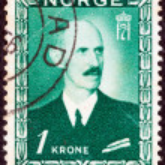NORWAY - CIRCA 1946: A stamp printed in Norway shows King Haakon VII, circa 1946. — Stock Photo