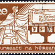 IRELAND - CIRCA 1958: A stamp printed in Ireland issued for the 21st anniversary of Irish Constitution shows Ireland and new Constitution, circa 1958. — Stock Photo