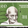"IRELAND - CIRCA 1969: A stamp printed in Ireland from the ""Birth Centenary of Mahatma Gandhi"" issue shows Mahatma Gandhi, circa 1969. — Stock Photo"