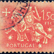 Stock Photo: PORTUGAL - CIRC1953: stamp printed in Portugal shows Seal of authority of King Dinis, circ1953.