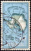 NORWAY - CIRCA 1957: A stamp printed in Norway issued for the International Geophysical Year shows Map of Antarctica and Queen Maud Land, circa 1957. — Stock Photo