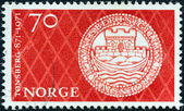 NORWAY - CIRCA 1971: A stamp printed in Norway issued for the 1100th anniversary of Tonsberg shows Tonsberg's Seal, circa 1971. — Stock Photo