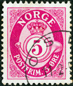 NORWAY - CIRCA 1937: A stamp printed in Norway shows crown, post horn and value, circa 1937. — Stock Photo