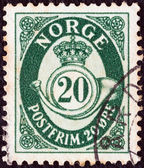NORWAY - CIRCA 1937: A stamp printed in Norway shows crown, post horn and value, circa 1937. — Stok fotoğraf
