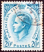 MONACO - CIRCA 1955: A stamp printed in Monaco shows Prince Rainier III, circa 1955. — Foto Stock