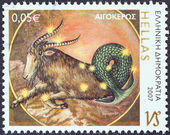 "GREECE - CIRCA 2007: A stamp printed in Greece from the ""Zodiac"" issue shows Capricorn, circa 2007. — Stock Photo"