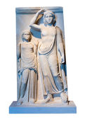 Greek marble votive stele with a representation of Apollo and the dedicator — Stock Photo
