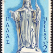 """GREECE - CIRCA 1971: A stamp printed in Greece from the """"150th Anniversary of War of Independence (1st issue). The Church"""" shows Patriarch Gregory V (statue by Phitalis), circa 1971. — Stock Photo #24565861"""