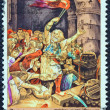 "GREECE - CIRCA 1971: A stamp printed in Greece from the ""150th Anniversary of War of Independence (4th issue). The War on Land"" shows the Sacrifice of Kapsalis(1826) by Vryzakis, circa 1971. — Stock Photo #24565877"