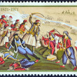 "GREECE - CIRCA 1971: A stamp printed in Greece from the ""150th Anniversary of War of Independence (1st issue). The Church"" shows the death of Isaiah, bishop of Salona, in battle, circa 1971. — Stock Photo #24565883"