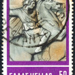 "GREECE - CIRCA 1968: A stamp printed in Greece from the ""Hellenic Fight for Civilization Exhibition, Athens"" issue shows Alexander the Great (from sarcophagus of Alexander of Sidon), circa 1968. — Stock Photo"