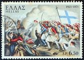 "GREECE - CIRCA 1971: A stamp printed in Greece from the ""150th Anniversary of War of Independence (4th issue). The War on Land"" shows the Battle of Maniaki (1825) from a lithograph, circa 1971. — Stock Photo"