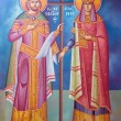 Saint Constantine and Helen fresco from old Greek Orthodox church — Stock Photo #25025739