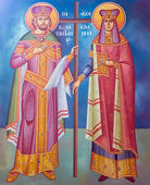 Saint Constantine and Helen fresco from an old Greek Orthodox church — Stock Photo