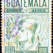 Foto Stock: GUATEMAL- CIRC1969: stamp printed in Guatemalissued for 700th birth anniversary (1965) of Dante shows Dante, circ1969.