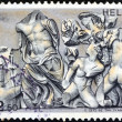 "GREECE - CIRCA 1973: A stamp printed in Greece from the ""Greek mythology (2nd series)"" issue shows Zeus against the Giants (Gigantomachy), Pergamon, Zeus Altar, circa 1973. — Stock Photo"