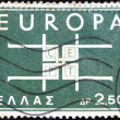 "GREECE - CIRCA 1963: A stamp printed in Greece from the ""Europa"" issue shows co-operation, circa 1963. — Stock Photo"