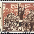 "图库照片: GREECE - CIRC1975: stamp printed in Greece from ""150th death anniversary of Grigorios Dikeos Papaflessas"" issue shows Secret Assembly, Vostitsa, circ1975."