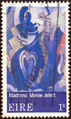 "IRELAND - CIRCA 1970: A stamp printed in Ireland from the ""Contemporary Irish Art (2nd issue)"" shows Madonna of Eire (Mainie Jellett), circa 1970. — Stock Photo"