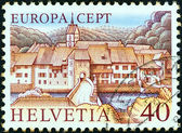 "SWITZERLAND - CIRCA 1977: A stamp printed in Switzerland from the ""Europa"" issue shows St. Ursanne, circa 1977. — Stock Photo"