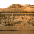 Ancient Greek sarcophagus decorated with scenes from Iliad, isolated — Stock Photo